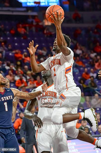 Clemson guard Ty Hudson goes up with a shot during 1st half action between the Clemson Tigers and South Carolina State Bulldogs on December 13 2016...