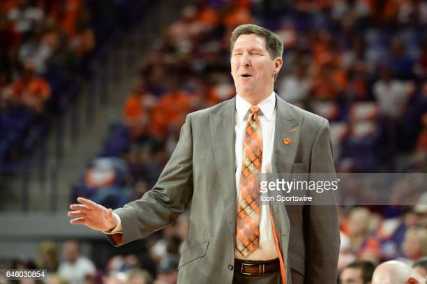 Clemson head coach Brad Brownell reacts after a call during 1st half action between the Clemson Tigers and the Florida State Seminoles on February 25...