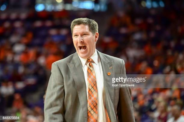 Clemson head coach Brad Brownell reacts to a call during 1st half action between the Clemson Tigers and the Florida State Seminoles on February 25 at...