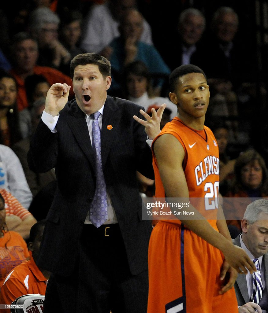 Clemson head coach Brad Brownell reacts to a call during the second half against Coastal Carolina at The HTC Center in Conway, South Carolina, on Wednesday, December 19, 2012. The host Chanticleers won, 69-46.