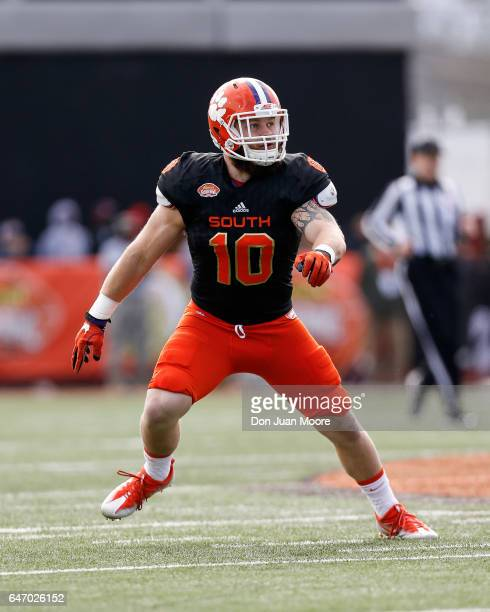 Clemson Linebacker Ben Boulware of the South Team during the 2017 Resse's Senior Bowl at LaddPeebles Stadium on January 28 2017 in Mobile Alabama The...