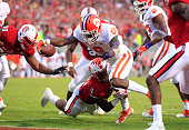 Clemson running back Wayne Gallman scores on a 3yard touchdown run during the second half against North Carolina State at CarterFinley Stadium in...