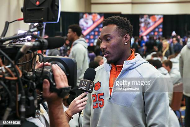 Clemson Tigers cornerback Cordrea Tankersley answers a reporters question at the Playstation Fiesta Bowl Media Day on December 29 2016 at the JW...
