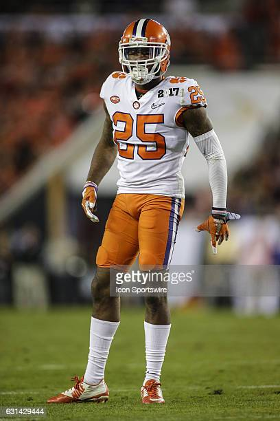 Clemson Tigers cornerback Cordrea Tankersley lines up for a play during the College Football Playoff National Championship game between the Alabama...