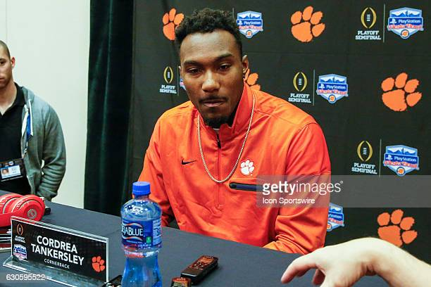 Clemson Tigers cornerback Cordrea Tankersley listens to a reporters question at the Fiesta Bowl Press Conference on December 27 2016 at the JW...