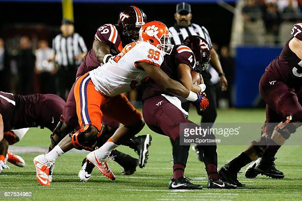 Clemson Tigers defensive end Clelin Ferrell sacks Virginia Tech Hokies quarterback Jerod Evans in the 2nd quarter of the ACC Championship NCAA...