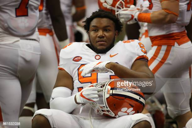 Clemson Tigers defensive tackle Sterling Johnson sit on the sidelines during a college football game between Clemson Tigers and Syracuse Orange on...