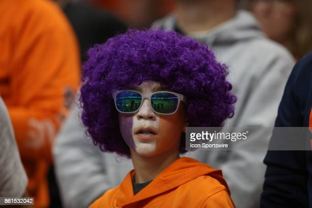 Clemson Tigers fan cheers during a college football game between Clemson Tigers and Syracuse Orange on October 13 2017 at the Carrier Dome in...