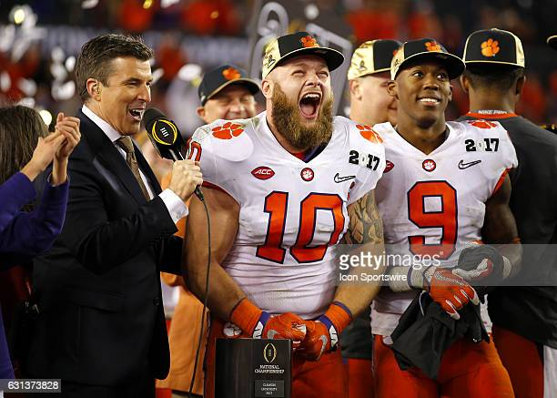Clemson Tigers linebacker Ben Boulware reacts at the trophy presentation at the conclusion of the National Championship game between the Alabama...