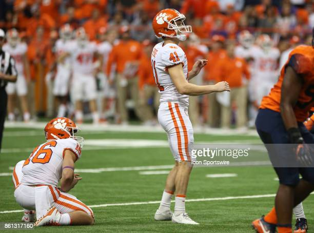 Clemson Tigers place kicker Alex Spence misses the potential game tying field goal during a college football game between Clemson Tigers and Syracuse...