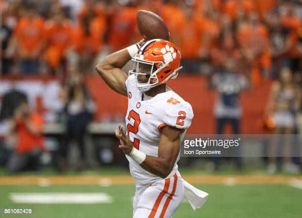 Clemson Tigers quarterback Kelly Bryant looks to pass during a college football game between Clemson Tigers and Syracuse Orange on October 13 2017 at...