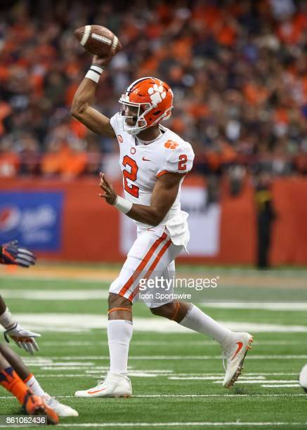 Clemson Tigers quarterback Kelly Bryant makes a pass during a college football game between Clemson Tigers and Syracuse Orange on October 13 2017 at...