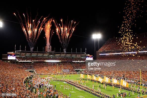 Clemson Tigers runs out onto the field prior to the game against the Louisville Cardinals at Memorial Stadium on October 1 2016 in Clemson South...