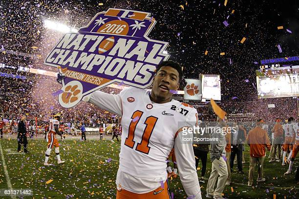 Clemson Tigers tight end Shadell Bell celebrates after the College Football Playoff National Championship game between the Alabama Crimson Tide and...