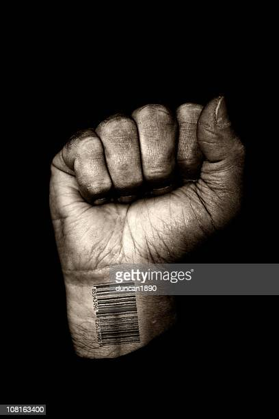 Clenched Fist with Barcode on Wrist, Toned