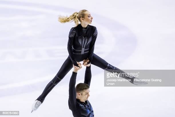 Cleo Hamon and Denys Strekalin of France compete in the Pairs Free Skating during day two of the ISU Junior Grand Prix of Figure Skating at Olivia...