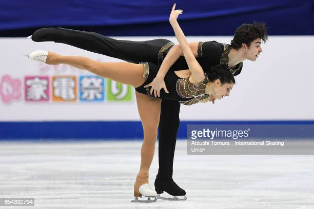 Cleo Hamon and Denys Strekalin of France compte in the Junior Pairs Free Skating during the 3rd day of the World Junior Figure Skating Championships...
