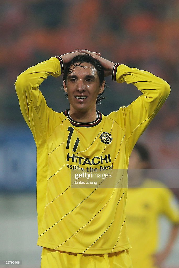 Cleo of Kashiwa Reysol react during the AFC Champions League match between Guizhou Renhe and Kashiwa Reysol at Olympic Sports Center on February 27, 2013 in Guiyang, China.