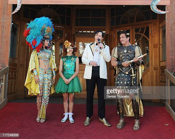 Cleopatra Absinthe cast members Penny Pibbets The Gazillionaire and Caesar attend Absinthe at Caesars Palace on June 24 2011 in Las Vegas Nevada