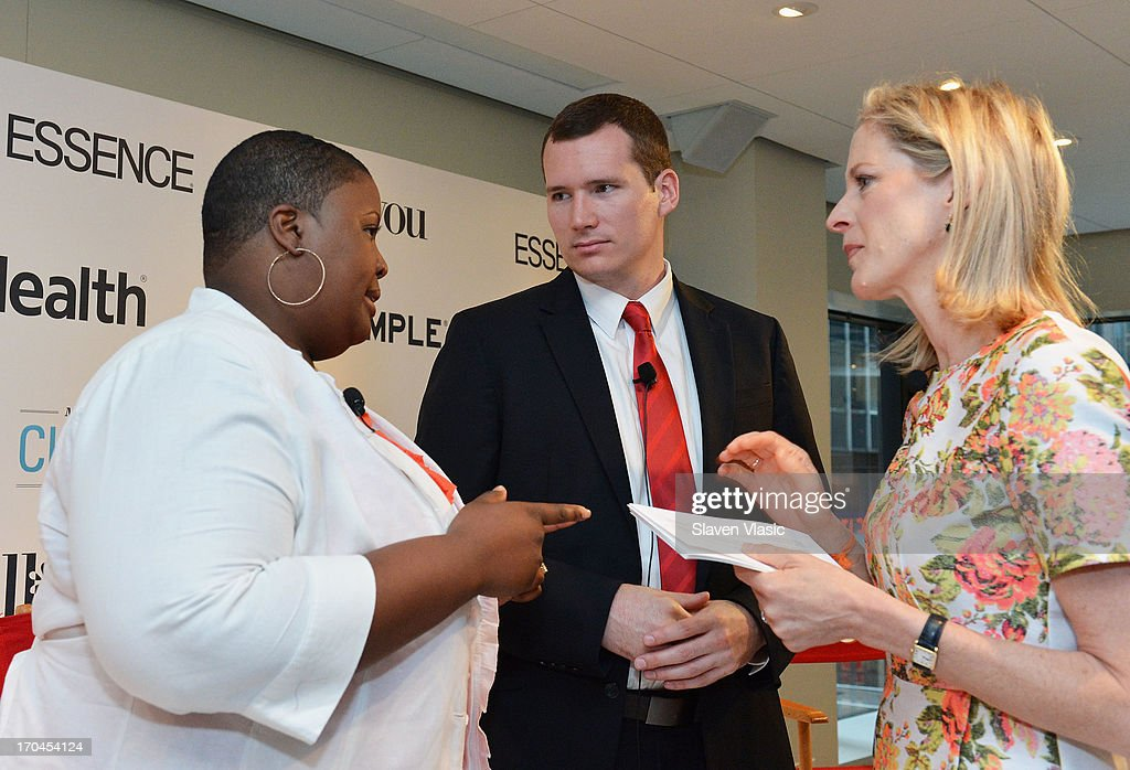 Cleopatra Cowley-Pendleton, mother of gun violence victim; Colin Goddard, Virginia Tech shooting survivor and Kristin Van Ogtrop, editor of 'Real Simple' magazine attend 'Make One Simple Change' panel and breakfast at Time-Life Building on June 13, 2013 in New York City.