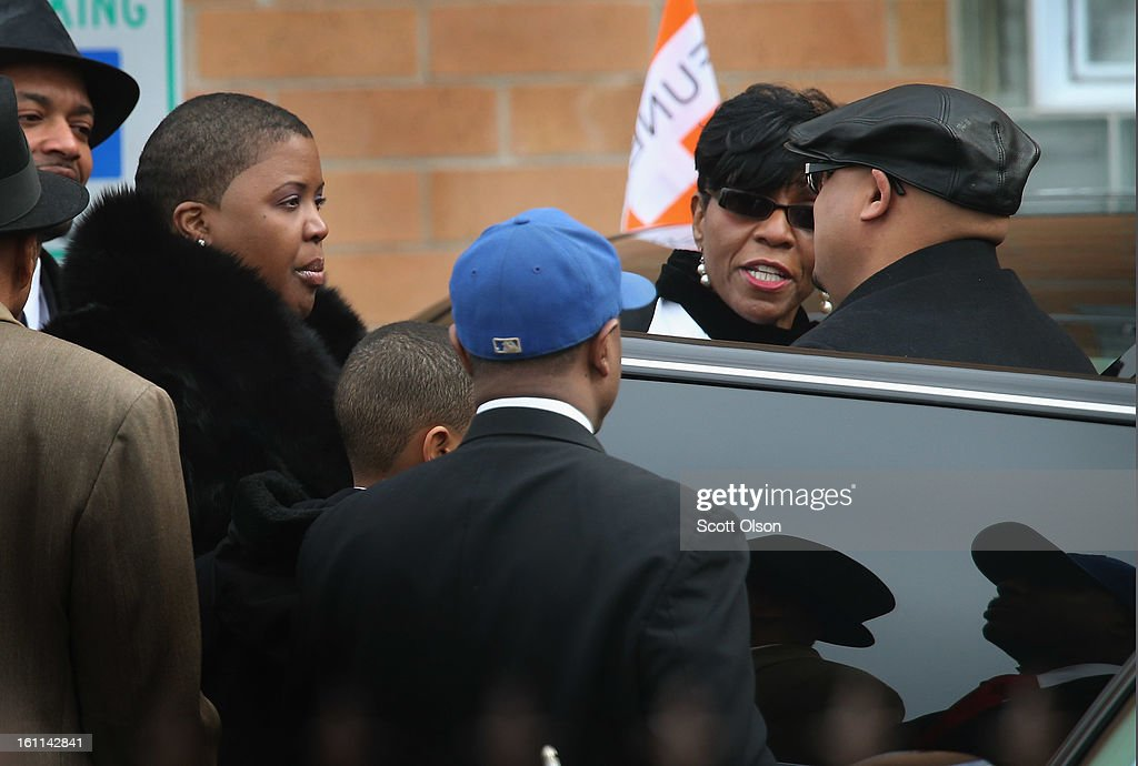 Cleopatra Pendleton (L) arrives with her husband Nate (R) for the funeral of their 15-year-old daughter Hadiya at the Greater Harvest M.B. Church on February 9, 2013 in Chicago, Illinois. Hadiya was killed on January 29, when a gunman opened fire on her and some friends while they were standing under a shelter on a warm rainy afternoon in a park about a mile from President Obama's Chicago home. First lady Michelle Obama attended the funeral with Senior White House Adviser Valerie Jarrett and Secretary of Education Arne Duncan.
