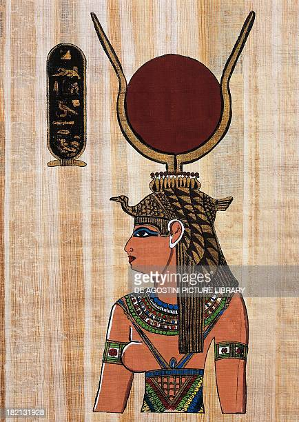 Cleopatra VII papyrus reconstruction of a relief from the Temple of Kom Ombo original dating back to Ptolemaic Period Egyptian civilisation Cairo...