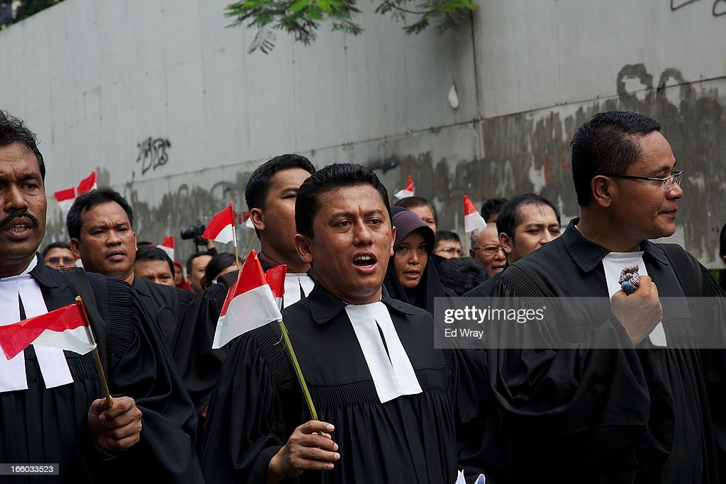 Clergy and leaders from Christian and Muslim religious minority groups marched to the parliament to demonstrate for religious tolerance on the streets of Jakarta on April 8, 2013 in Jakarta, Indonesia. Recent reports suggest upwards of 260 violent attacks against religious minorities occured in 2012 in Indonesia.