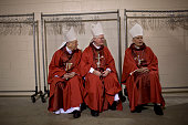 Clergy members and officials from the Catholic church wait backstage before Pope Benedict XVI celebrated Mass for more than 48000 at the new...