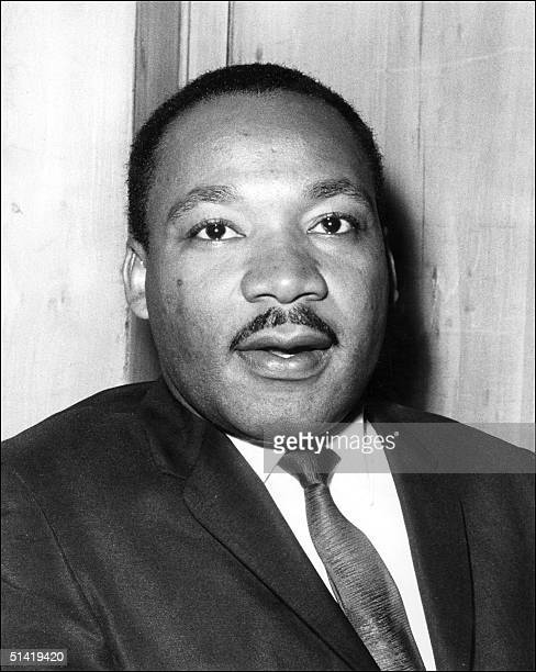 US clergyman civil rights leader and future Nobel Peace Prize winner Martin Luther KIng speaking 21 September 1964 in London at the press conference...