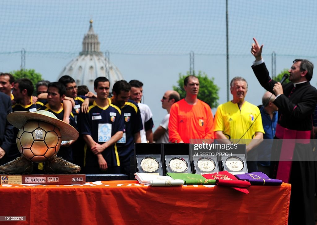 A Clericus Cup trophy is displayed after the Redemptoris Mater vs American Martyrs football final of the fourth Clericus Cup on May 29, 2010 at the Pontificio Oratorio San Pietro in Rome, near The Vatican. The Clericus Cup, is the football championship organized by the Vatican at the Italian sporting Center (CSI), a sport organization of the Catholic Church.