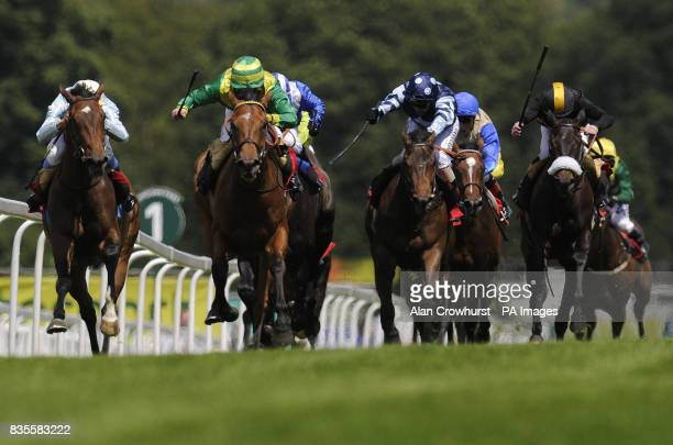 Clerk's Choice and Jim Crowley win The toteplacepot Handicap Stakes during the Totepool Irish Day at Sandown Racecourse Esher Surrey