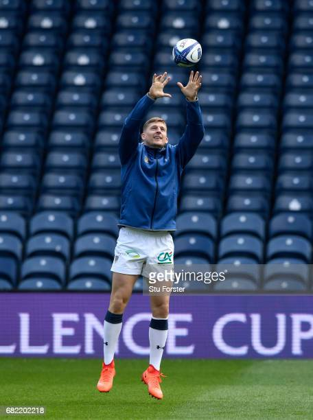 Clermont Auvergne wing David Strettle in action during the captains run before the 2017 European Rugby Champions Cup Final at Murrayfield Stadium on...