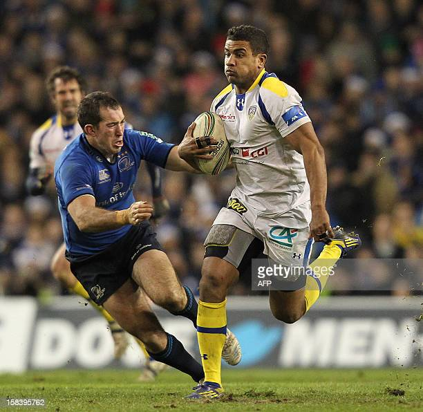 Clermont Auvergne's Wesley Fofana is tackled by Leinster's Andrew Goodman during the European Cup rugby union match between Leinster and Clermont...