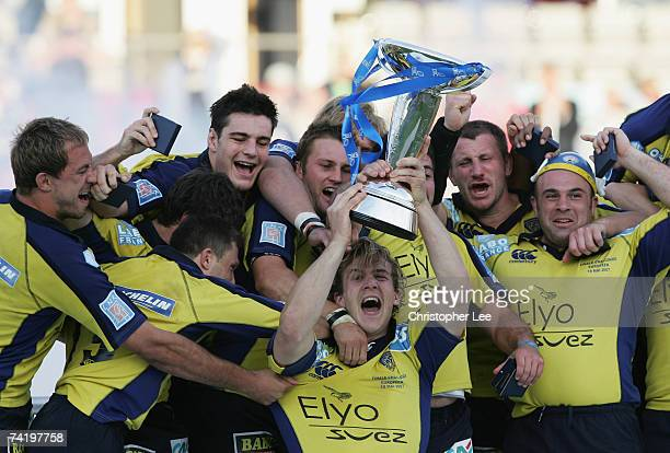 Clermont captain Aurelien Rougerie of Clermont lifts the trophy following his team's victory during the European Challenge Cup Final between ASM...