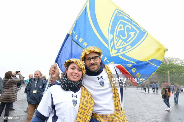 Clermont fans at Edinburgh Castle before the European Champions Cup Final match between Clermont Auvergne and Saracens at Murrayfield Stadium on May...