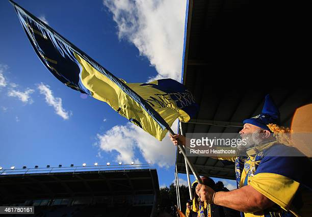 Clermont fans show their support during the Heineken Cup match between Harlequins and Clermont Auvergne at the Twickenham Stoop on January 11 2014 in...