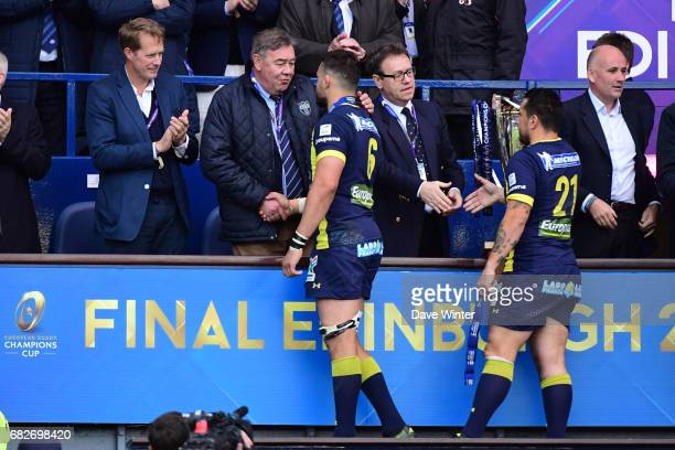 Clermont president Eric De Cromieres consoles Damien Chouly of Clermont after their side loses the European Champions Cup Final match between...