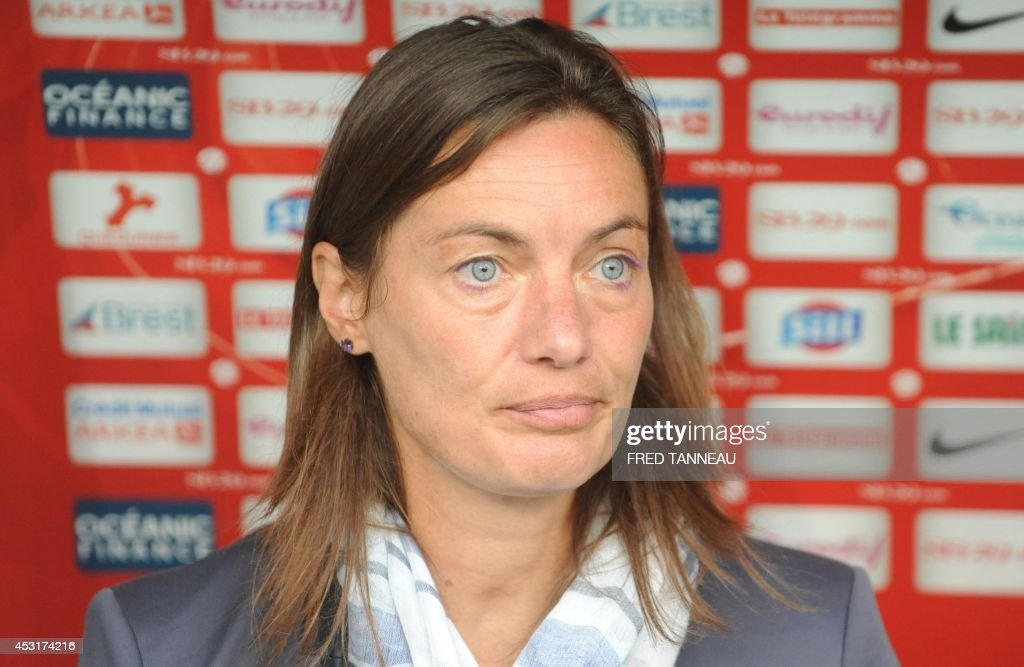 Clermont-Ferrand's French coach Corinne Diacre attends the French L2 football match between Brest and Clermont-Ferrand on August 4, 2014 at the Francis Le Ble stadium in Brest, western France. Diacre is the first woman to lead a men's professional team in a major European country. Diacre was hired after Clermont's original choice, another woman, Portuguese Helena Costa, resigned abruptly the day before taking charge of the team.