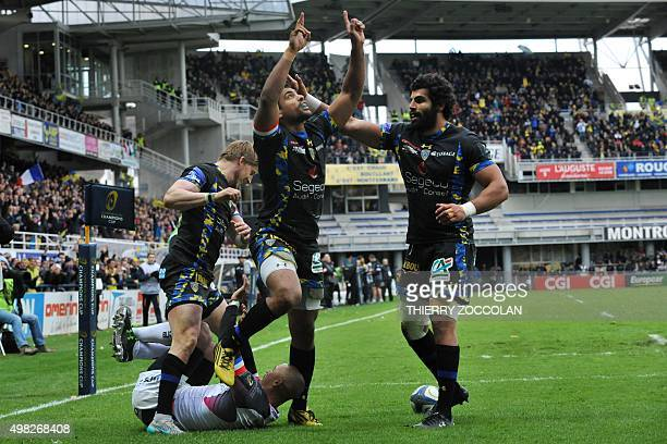 Clermont's French centre Wesley Fofana celebrates after scoring a try during the European Rugby Champions Cup Clermont vs Ospreys at the Michelin...