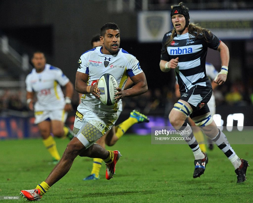asm clermont auvergne v sharks european rugby champions cup clermont s french centre wesley fofana l runs the ball during the european champions