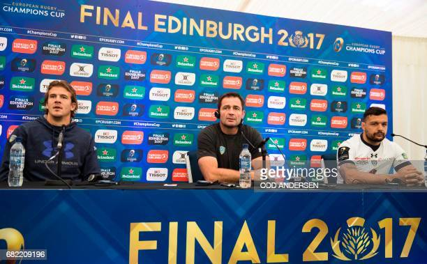 Clermont's French coach Franck Azema speaks during a press conference flanked by Clermont's French flanker Damien Chouly and Clermont's French centre...
