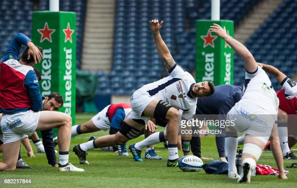 Clermont's French flanker Damien Chouly attends the captain's run training session at the Murrayfield stadium in Edinburgh on May 12 on the eve of...