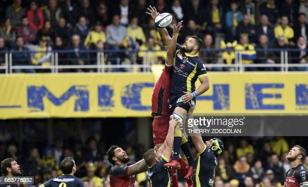Clermont's French flanker Damien Chouly tries to catch the ball in a line out during the European Champions Cup match Clermont vs Toulon at the...