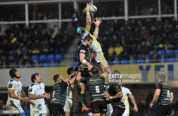 Clermont's French flanker Julien Bonnaire catches the ball in a line out during the European Rugby Champions Cup 1/4 final match between Clermont and...