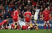 Clermont's French lock Sebastien Vahaamahina celebrates an early try for Clermont during a European Champions Cup rugby union match between Munster...