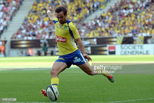 Clermont's French scrumhalf Morgan Parra kicks the ball during the French Top 14 rugby union semifinal match between Clermont and Toulouse on June 5...