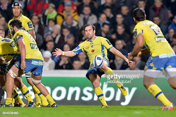 Clermont's French scrumhalf Morgan Parra kicks the ball during the European Rugby Champions Cup rugby union match between Union BordeauxBegles and...
