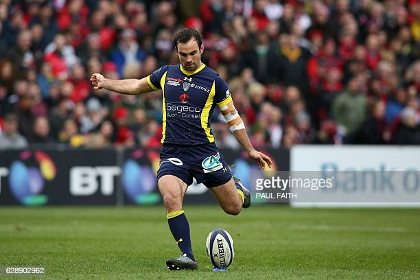 Clermont's French scrumhalf Morgan Parra kicks the conversion after the opening try during the European Rugby Champions Cup rugby union match between...