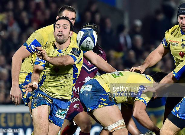Clermont's French scrumhalf Morgan Parra passes the ball during the European Rugby Champions Cup rugby union match between Union BordeauxBegles and...