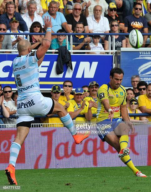 Clermont's French scrumhalf Morgan Parra takes a penalty kick during the French Top 14 rugby union match between Clermont and Racing Metro at the...